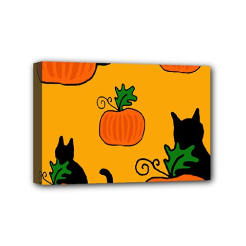 Halloween pumpkins and cats Mini Canvas 6  x 4