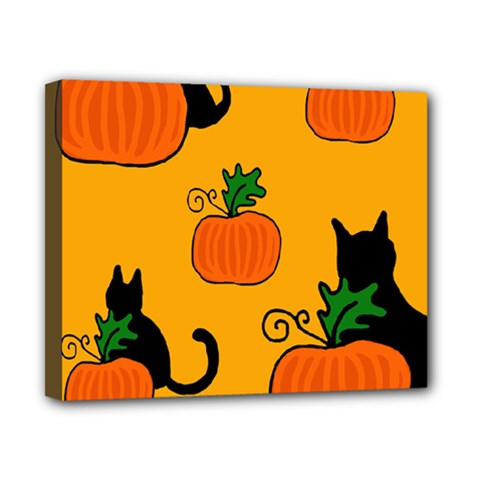 Halloween pumpkins and cats Canvas 10  x 8