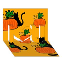 Halloween pumpkins and cats I Love You 3D Greeting Card (7x5)