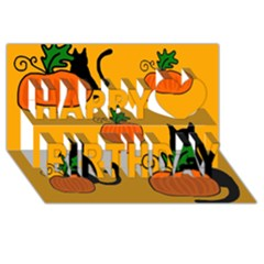 Halloween pumpkins and cats Happy Birthday 3D Greeting Card (8x4)