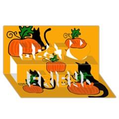 Halloween pumpkins and cats Best Friends 3D Greeting Card (8x4)
