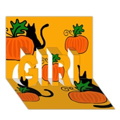 Halloween pumpkins and cats GIRL 3D Greeting Card (7x5)