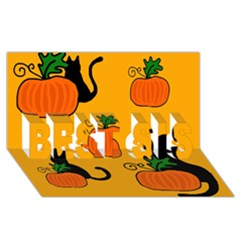 Halloween pumpkins and cats BEST SIS 3D Greeting Card (8x4)