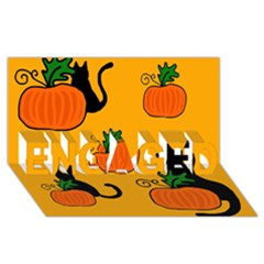 Halloween pumpkins and cats ENGAGED 3D Greeting Card (8x4)