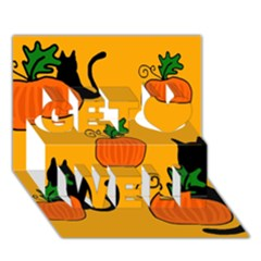 Halloween pumpkins and cats Get Well 3D Greeting Card (7x5)