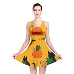 Halloween pumpkins and cats Reversible Skater Dress