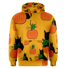 Halloween pumpkins and cats Men s Pullover Hoodie