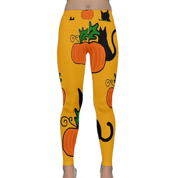 Halloween pumpkins and cats Yoga Leggings