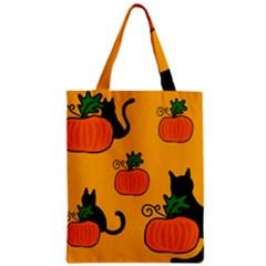 Halloween pumpkins and cats Zipper Classic Tote Bag