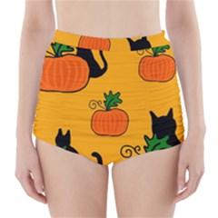 Halloween pumpkins and cats High-Waisted Bikini Bottoms