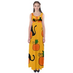 Halloween pumpkins and cats Empire Waist Maxi Dress