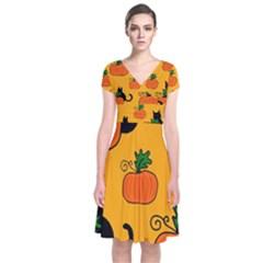 Halloween pumpkins and cats Short Sleeve Front Wrap Dress