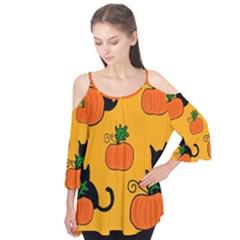 Halloween Pumpkins And Cats Flutter Tees