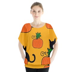 Halloween Pumpkins And Cats Blouse