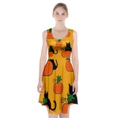 Halloween pumpkins and cats Racerback Midi Dress