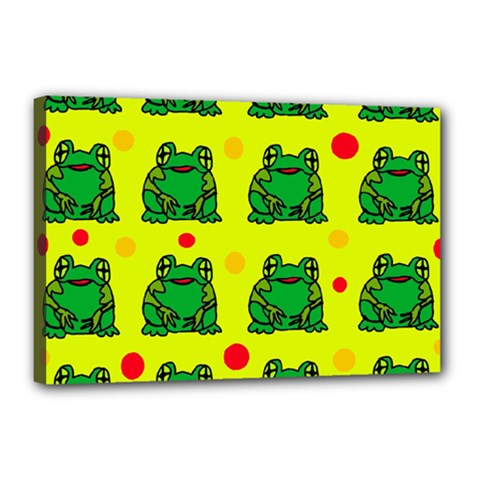 Green frogs Canvas 18  x 12