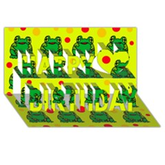Green frogs Happy Birthday 3D Greeting Card (8x4)