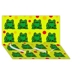 Green frogs Twin Heart Bottom 3D Greeting Card (8x4)