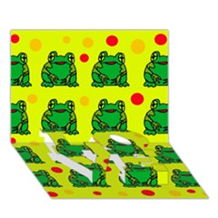 Green frogs LOVE Bottom 3D Greeting Card (7x5)