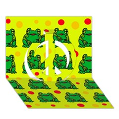 Green frogs Peace Sign 3D Greeting Card (7x5)