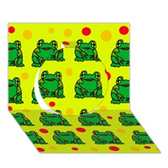 Green frogs Circle 3D Greeting Card (7x5)