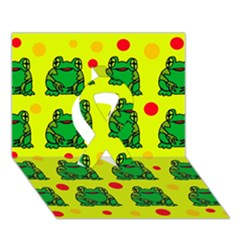Green frogs Ribbon 3D Greeting Card (7x5)