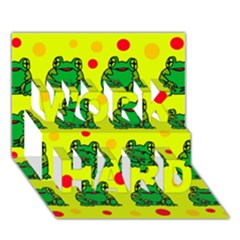 Green frogs WORK HARD 3D Greeting Card (7x5)