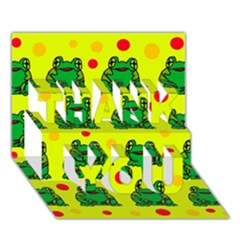Green frogs THANK YOU 3D Greeting Card (7x5)