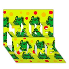Green frogs TAKE CARE 3D Greeting Card (7x5)