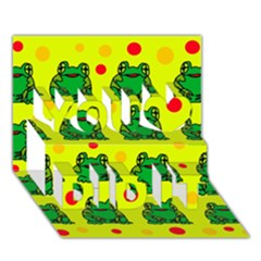 Green frogs You Did It 3D Greeting Card (7x5)