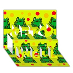 Green frogs Get Well 3D Greeting Card (7x5)