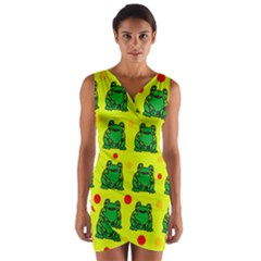 Green frogs Wrap Front Bodycon Dress