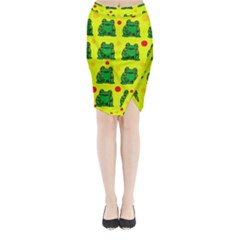 Green Frogs Midi Wrap Pencil Skirt