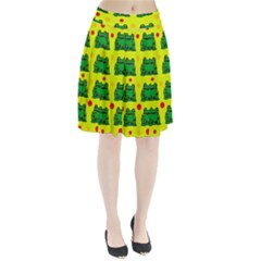 Green frogs Pleated Skirt