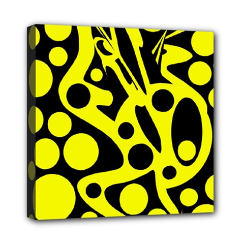 Black and Yellow abstract desing Mini Canvas 8  x 8