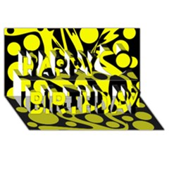 Black and Yellow abstract desing Happy Birthday 3D Greeting Card (8x4)