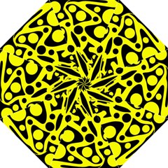 Black and Yellow abstract desing Hook Handle Umbrellas (Medium)