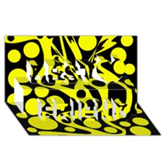 Black and Yellow abstract desing Best Friends 3D Greeting Card (8x4)