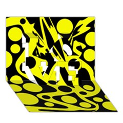 Black and Yellow abstract desing LOVE 3D Greeting Card (7x5)