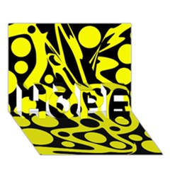 Black and Yellow abstract desing HOPE 3D Greeting Card (7x5)