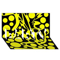 Black and Yellow abstract desing PARTY 3D Greeting Card (8x4)