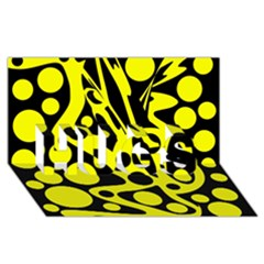 Black and Yellow abstract desing HUGS 3D Greeting Card (8x4)