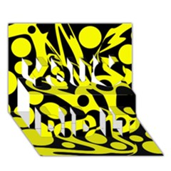 Black and Yellow abstract desing You Did It 3D Greeting Card (7x5)