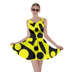Black and Yellow abstract desing Skater Dress