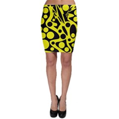 Black and Yellow abstract desing Bodycon Skirt