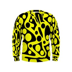 Black and Yellow abstract desing Kids  Sweatshirt