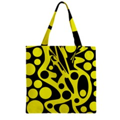 Black and Yellow abstract desing Zipper Grocery Tote Bag