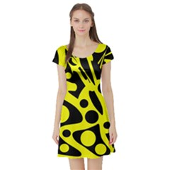 Black and Yellow abstract desing Short Sleeve Skater Dress