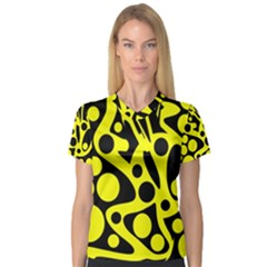 Black and Yellow abstract desing Women s V-Neck Sport Mesh Tee