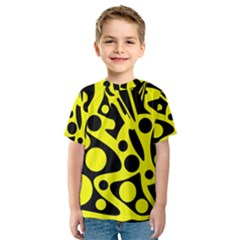 Black and Yellow abstract desing Kid s Sport Mesh Tee